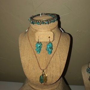 Turquoise earrings necklace and bracelets set